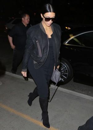 Kim Kardashian in Black Dress at LAX airport in LA