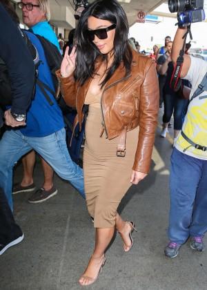 Kim Kardashian in Leather Jacket at LAX -02