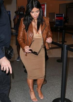 Kim Kardashian in Leather Jacket at LAX -04