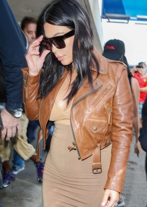 Kim Kardashian in Leather Jacket at LAX -06
