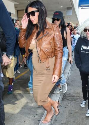 Kim Kardashian in Leather Jacket at LAX -07