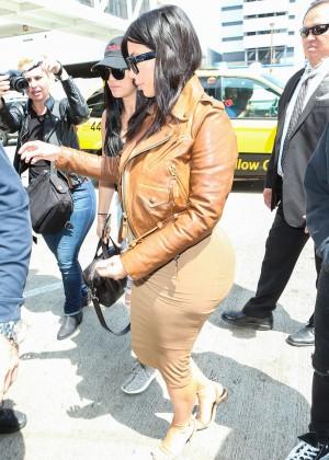 Kim Kardashian in Leather Jacket at LAX -10