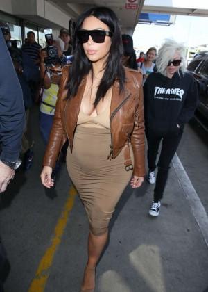 Kim Kardashian in Leather Jacket at LAX -12