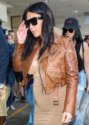 Kim Kardashian in Leather Jacket at LAX -13