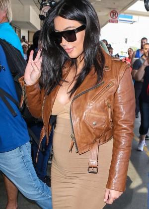 Kim Kardashian in Leather Jacket at LAX -15