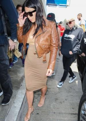 Kim Kardashian in Leather Jacket at LAX -19