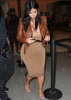 Kim Kardashian in Leather Jacket at LAX -21