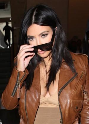 Kim Kardashian in Leather Jacket at LAX -25
