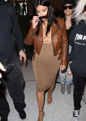 Kim Kardashian in Leather Jacket at LAX -27