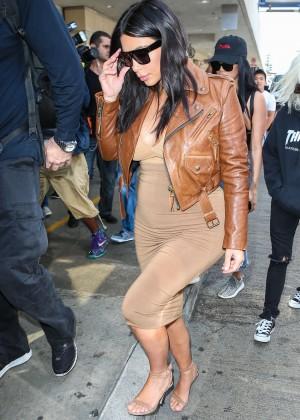 Kim Kardashian in Leather Jacket at LAX -28