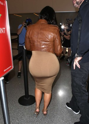 Kim Kardashian in Leather Jacket at LAX -32