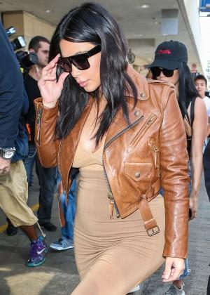 Kim Kardashian in Leather Jacket at LAX -34