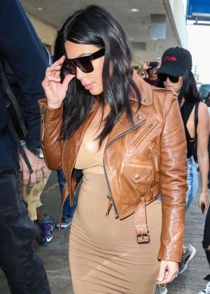 Kim Kardashian in Leather Jacket at LAX -35