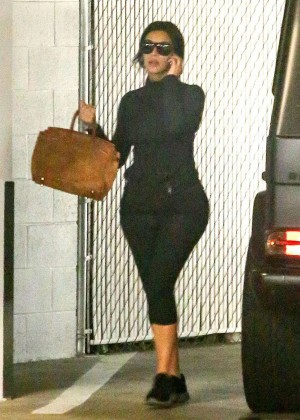 Kim Kardashian in Leggings at Medical Building in Beverly Hills