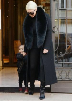 Kim Kardashian - Leaves Royal Monceau Hotel in Paris