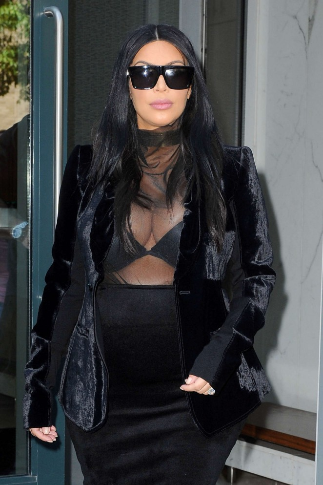 Kim Kardashian in Black Tight Skirt out in NYC
