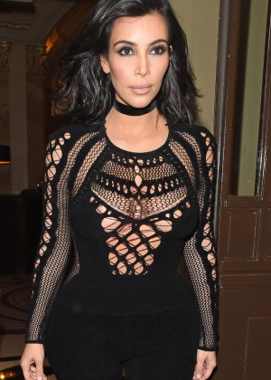 Kim Kardashian in Tight Jumsuit out in London