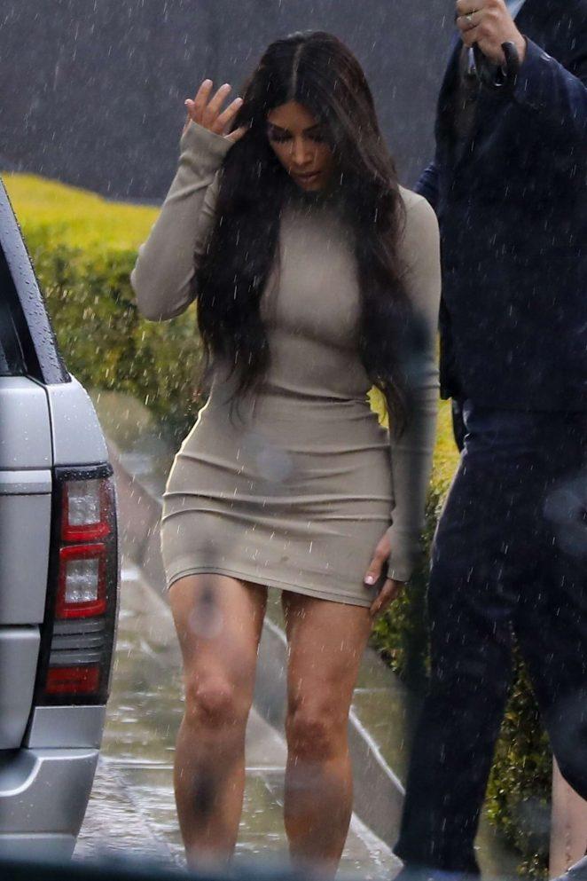 Kim Kardashian - Leaving Khloe Kardashian's baby shower in Beverly Hills