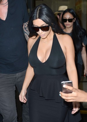 Kim Kardashian in Black Dress Leaving the Dorchester Hotel in London