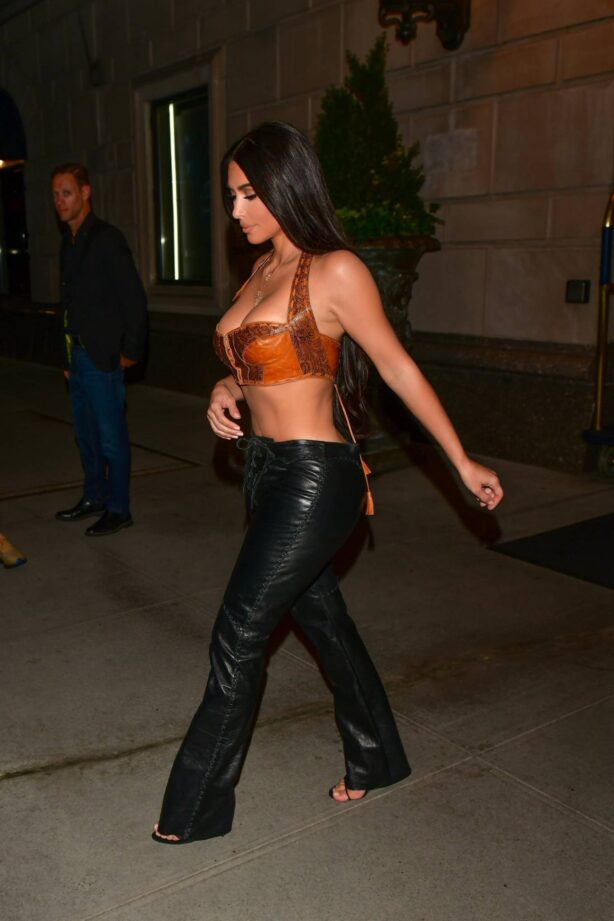 Kim Kardashian - Night out in a leather pants in New York