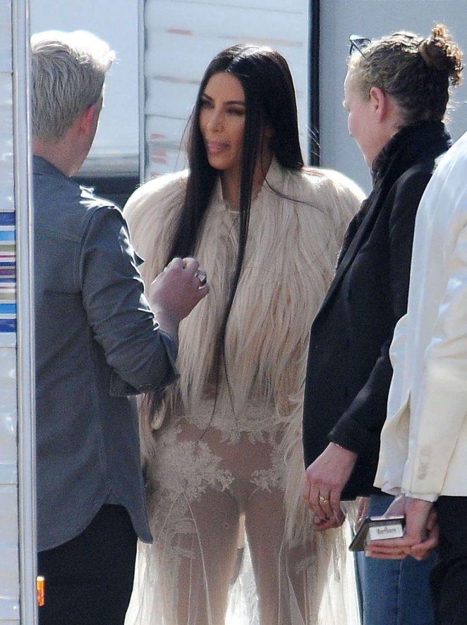 Kim Kardashian on the set of 'Ocean's Eight' in Los Angeles