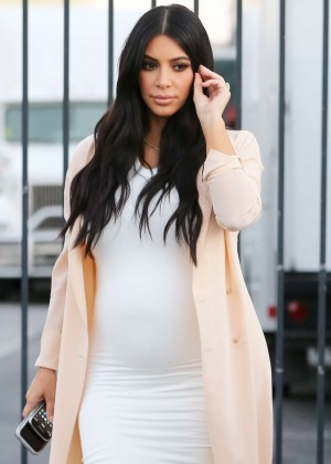 Pregnant Kim Kardashian in Tight Dress out in LA