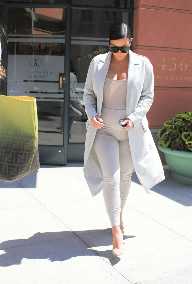 Kim Kardashian in Tights out in Los Angeles