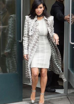 Kim Kardashian in Mini Dress Out in NYC