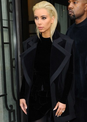Kim Kardashian Debuts Blonde Hair Out in Paris