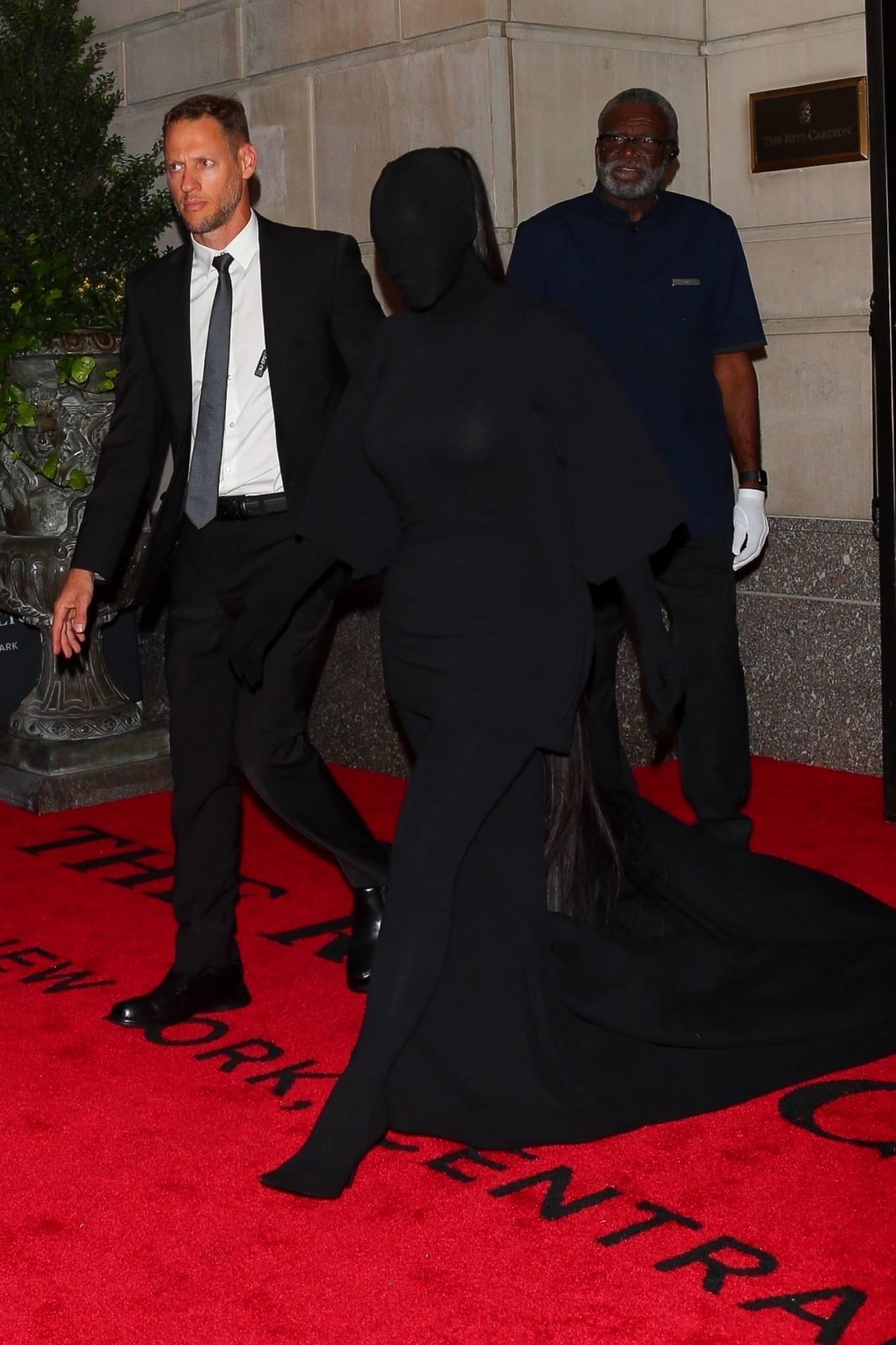 Kim Kardashian - Seen while exits The Ritz-Carlton hotel ahead of the Met Gala in New York