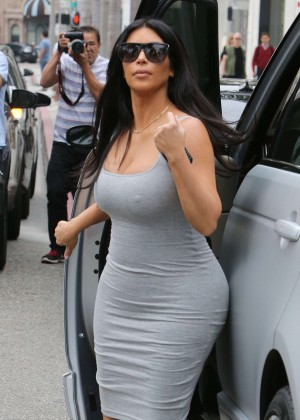 Kim Kardashian in Tight Dress Shopping in Beverly Hills