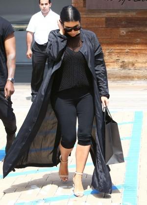 Kim Kardashian in Tights Shopping in Malibu