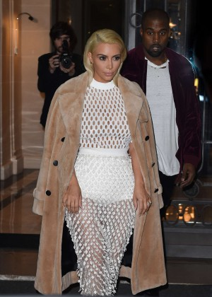 Kim Kardashian in White Mesh Dress Out in Paris