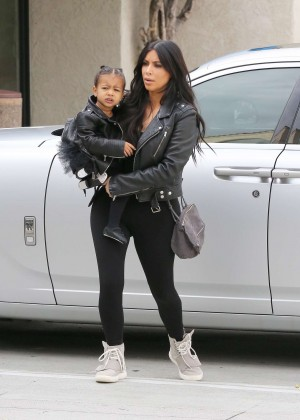 Kim Kardashian in Tights Taking her daughter to dance class in LA