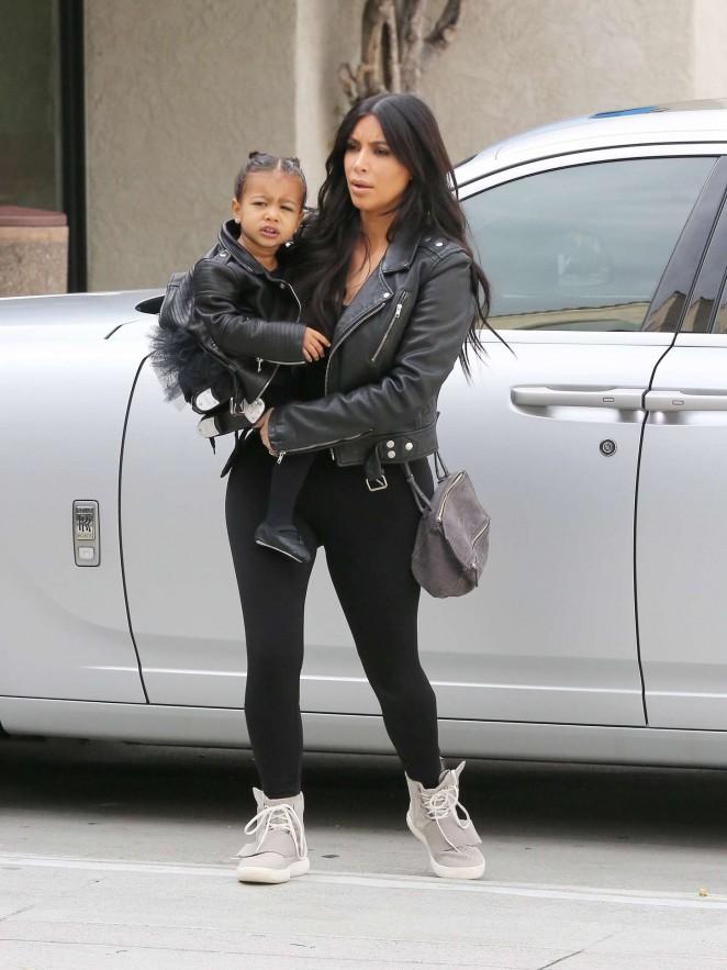 Kim Kardashian in Tights Taking her daughter to dance class in LA