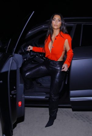 Kim Kardashian - Wearing black leather pants and stilettos in Calabasas