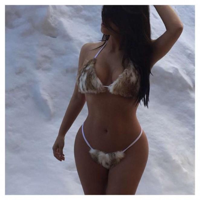 Kim Kardashian in Fur Bikini