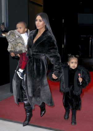 Kim Kardashian with her children out in NYC