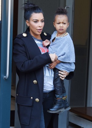 Kim Kardashian with her daughter out in NYC