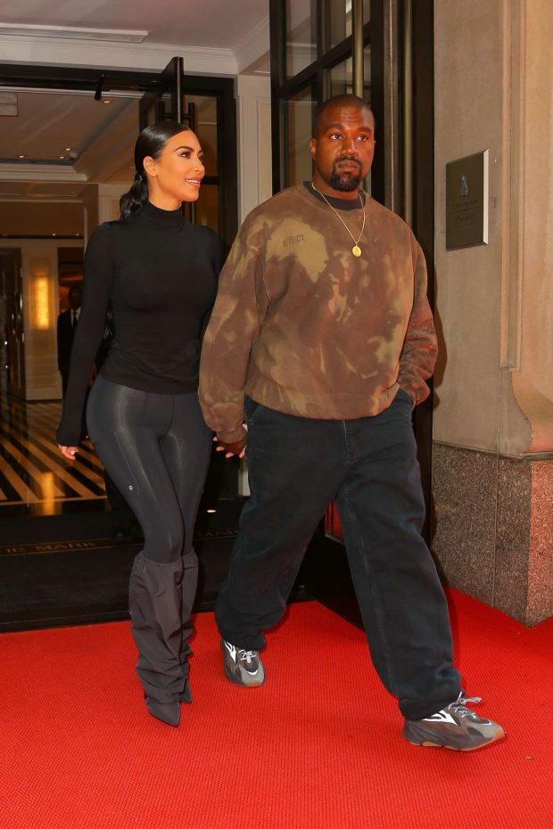 Kim Kardashian with Kanye West: Exit their hotel in New York -11