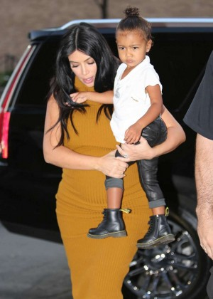 Kim Kardashian with North West out in NYC