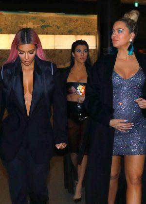 Kim, Khloe and Kourtney Kardashian out for dinner in Tokyo
