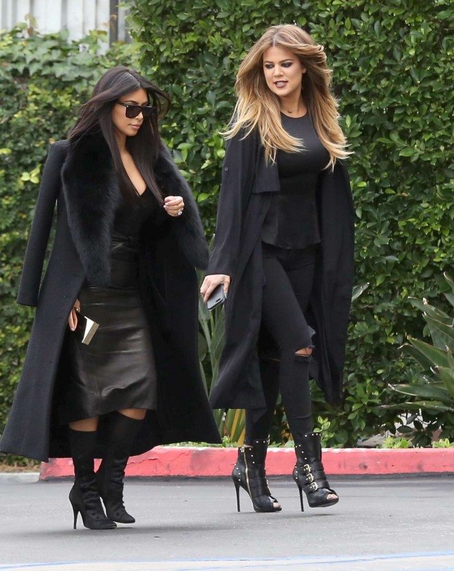 Kim & Khloe Kardashian - Arriving at Jenner Communications in Woodland Hills
