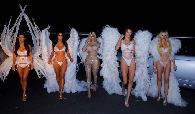 Kim, Kourtney and Khloe Kardashian and Kendall and Kylie Jenner on Halloween in LA