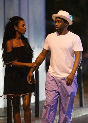Kim Porter with P Diddy in St Barth
