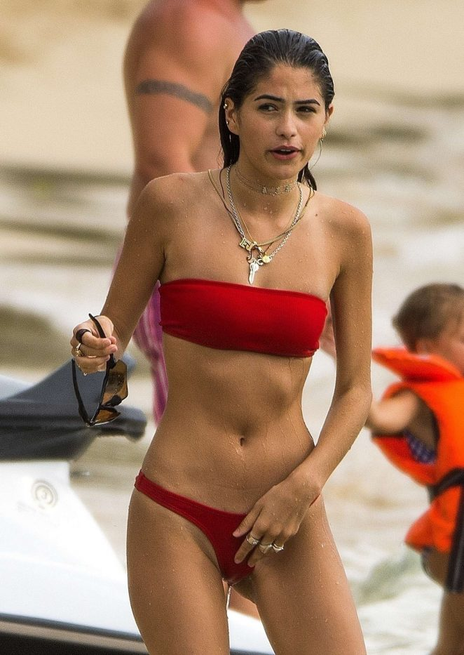 Kim Turnbull in Red Bikini on the beach in Barbados