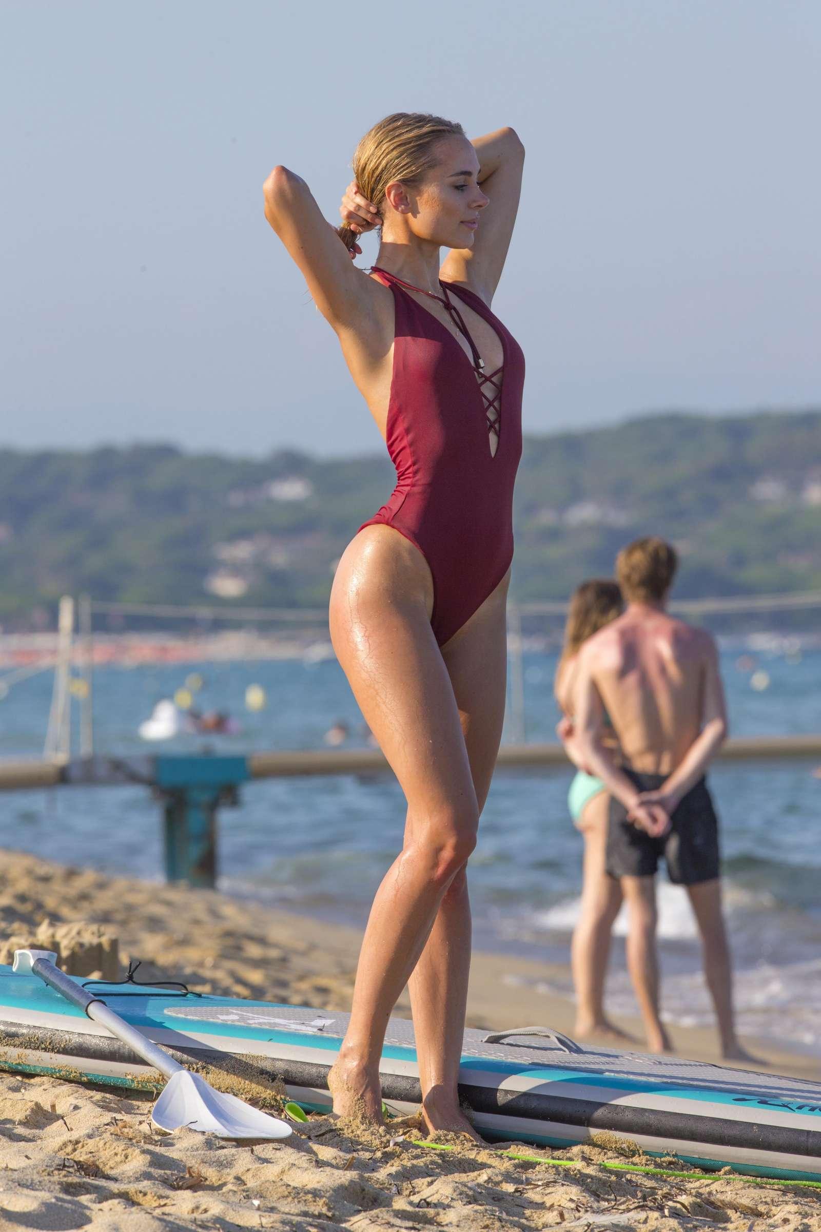 Kimberley Garner Dark Red Swimsuit Paddle Boarding in St Tropez