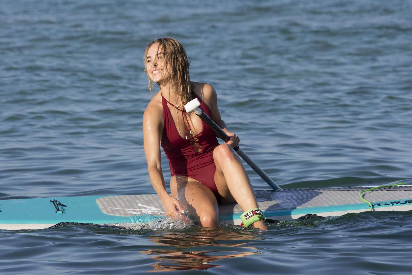 Kimberley Garner in Red Bikini Paddleboarding in Caribbean Pic 5 of 35