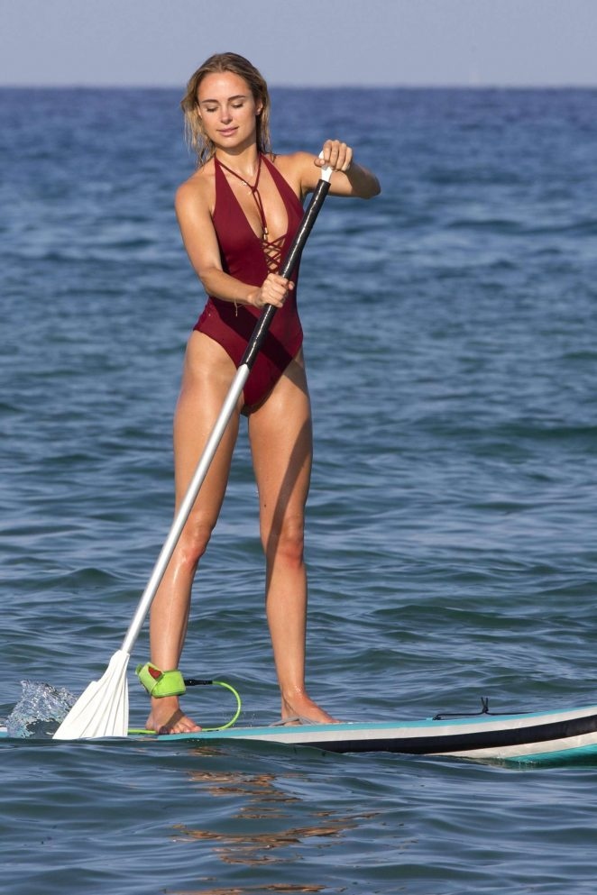 Kimberley Garner Dark Red Swimsuit Paddle Boarding in St Tropez