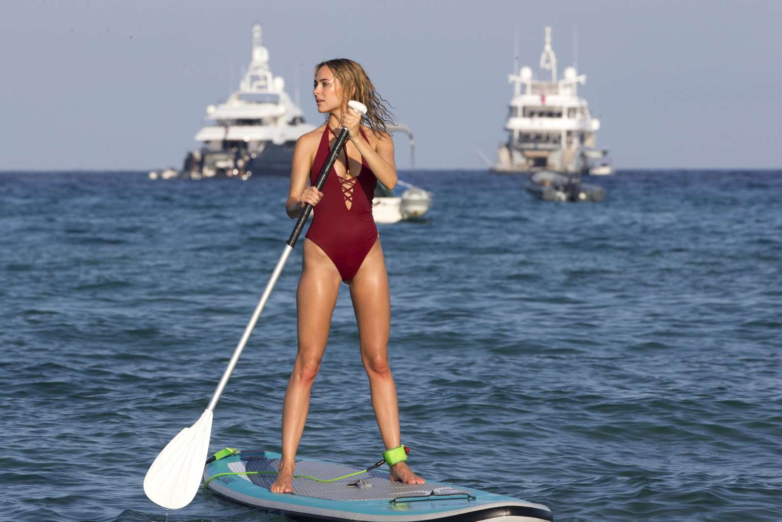 Kimberley Garner in Red Bikini Paddleboarding in Caribbean Pic 6 of 35